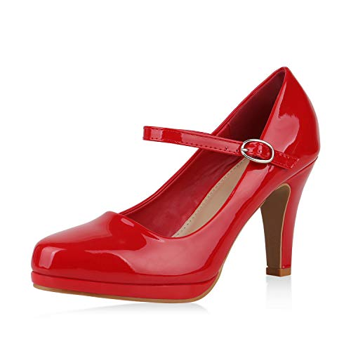 SCARPE VITA Damen Pumps Mary Janes Lack Stiletto High Heels Absatzschuhe 167608 Rot 37