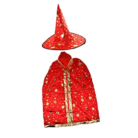 Kids Gold Stamping Star Cloak Halloween Fancy Dress Magic Witch Costume Cape - Red