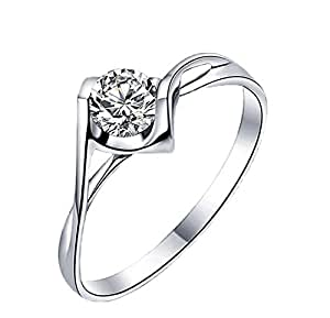 Hosaire Elegant Heart Diamond Ring Crystal Open Rings Wedding Jewelry For Women-It Can Be adjustable