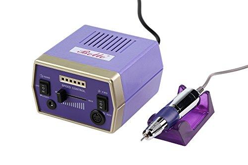 Belle Pourpre 220V Electrique Ponceuse à Ongles Drill Ficher Manucure Pédicure kit + 6 Bits pour Acryliques, Gels, Ongles Naturels, EU Plug