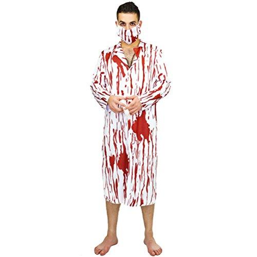 or Kostüm Adult Cosplay männlichen Chirurgen Anzug Overall Maske Stethoskop mit Blut für beste Halloween Party gefallen, Pack von 3 ()