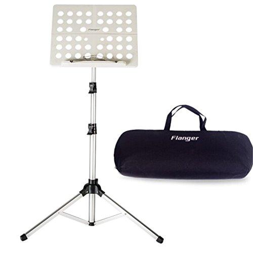 Leggio musica pieghevole con borsa capacità massima peso 5kg altezza regolabile gamma da 70 a 150cm adatto per contenere il tuo libro di musica, ipad, laptop (bianco argento)