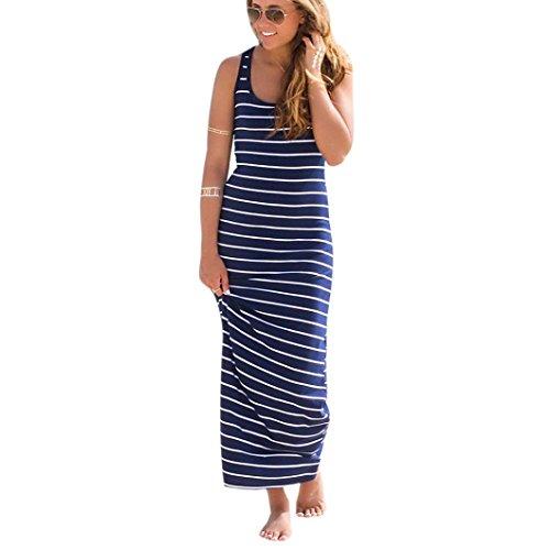 (Hot! Damen Kleid Yesmile Frauen Ärmelloses Gestreiftes Langes Kleid Strand Party Casual Sonnen Kleid Gestreiften Bodenlänge Feste Bademode Mode Daily Kleid Baumwolle Rund Hals Kleid (XL, Blau))