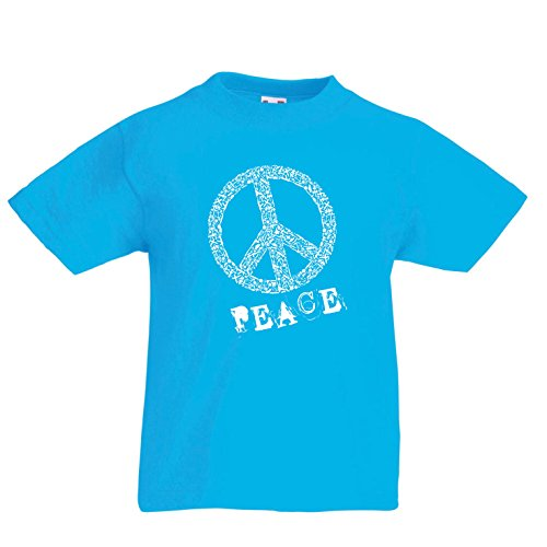 en/Mädchen T-Shirt FRIEDENSsymbol - 1960er Jahre 1970er Jahre Hippie Hippie, Street-Kleidung, Friedenszeichen, Sommer Festival Hipster Swag (3-4 years Hellblau Mehrfarben) (1970 Kostüme Für Jungen)