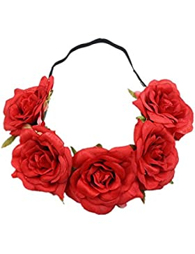 Cupcinu Diadema de flores para boda, diseño floral (5 flores, color rojo), tela de seda, Rojo, 48 cm