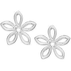 Pendientes con forma de margarita de plata, preciosos pendientes de flor