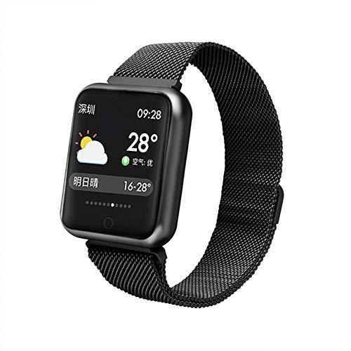 Besteffie Fitness-Tracker, Fitness-Armband, mit Wettervorhersage, Herzfrequenz-Monitor, Kalorienzähler, IP67, wasserdicht, Schrittzähler, Smartwatch für Android iOS, Schwarz, Steel Strap (Wearable Tracker)