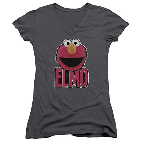 Sesamstrasse Classic Kinder TV Show Elmo Smile Junior V-Neck T-Shirt Tee - grau - XL