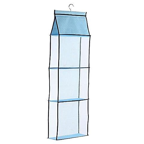 Hanging Storage Bag,Hanging Oxford Mesh Narrow Hanging Shelves Closet Handbag Storage Organiser Holder with Rotatable Hanger,Height 1.05M,Blue