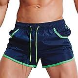KPILP Herren Boxer Boxershorts Unterwäsche Sportswear Breathable Badehose Hosen Bademode Shorts Slim Wear Bikini Badeanzug Schwarz ( Marine,L