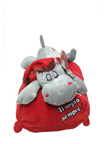 Peluche hippo steso san valentino con cuscino con scritta cm 30 (grigio ti sogno sempre)