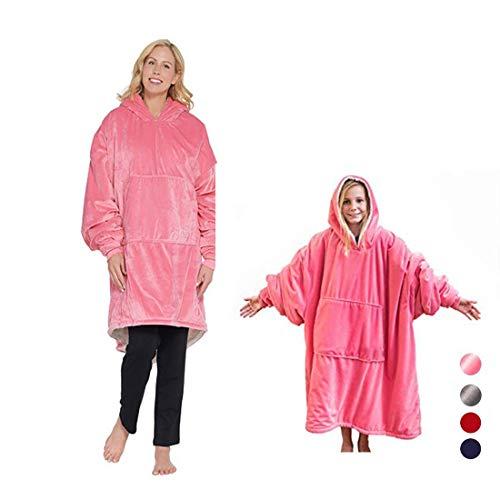 (The Original Comfy: Warmes, weiches, gemütliches Sherpa-Decken-Sweatshirt, gesehen auf Hai-Tank für Erwachsene und Kinder, Reversible, Kapuze und große Tasche, Einheitsgröße (Huggle Hoodie pink))