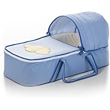 Capazo bebe blando. Moisés bordado NUBE color azul. Incluye: Colchón,Capota y Asas. Acolchado muy cómodo, calentito y confortable. Cierres con cremallera. Ideal para recien nacido. KOKETES