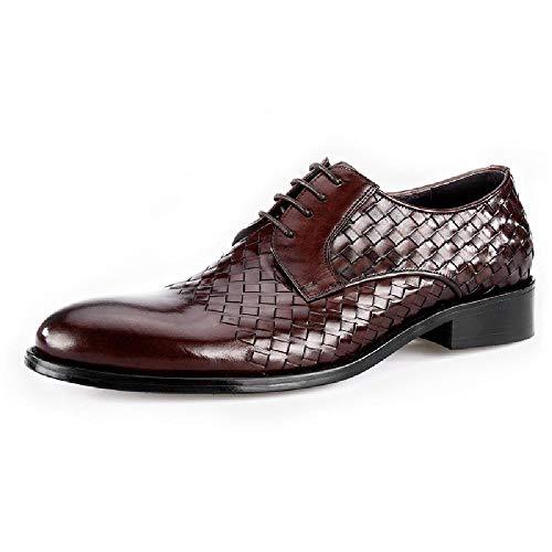Jsys scarpe da uomo in pelle intrecciata a mano business casual wind l'inghilterra indossa il primo strato di scarpe da uomo in pelle,red-44eu