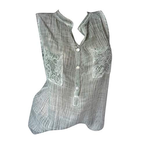TOPSELD T Shirt Damen, Frauen Sportlich Feste Spitze Mit V-Ausschnitt Baggy T-Shirt,T-Shirts Bluse Tops Plus Size Taschen -