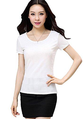 ONECHANCE Frauen Kurzarm Mesh Sommer Cool Basic Einfache Bluse Stretchy Top Farbe Weiß Größe L