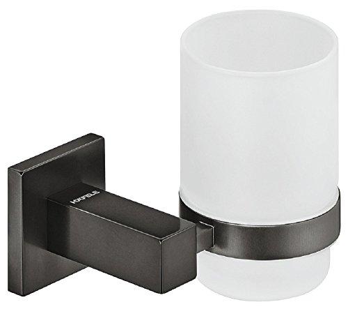 Gedotec Becherhalterung eckig Zahnbürsten-Halterung für Badezimmer Glas-Halter Messing | H3270 | 117 x 95 x 97 mm | Wand-Halterung für Zahnputzbecher Messing graphit-schwarz inkl. Glas | 1 Stück