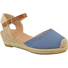 Fashion Thirsty Mujer Tacón Cuña Baja Sandalias de Verano Tiras Alpargatas Zapatos Talla Nuevo por Heelberry