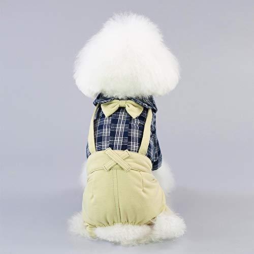 Lwen Warme und Bequeme Hundeoverall-Haustier-Mantel-Jacken-Haustier-Kostüm-Plaid-Anzug-Kleidung for kleine Hunde (Farbe : Blau, Size : XXL) (Plaid-anzug Blaue)