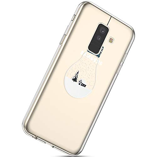 92af8120c0a4 Herbests Galaxy A6 Plus 2018 Silicone Coque avec Noël Motif,Ultra Mince Crystal  Clear Transparent