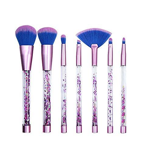 Pinceaux Maquillage Kit de 7pcs Brosse de Maquillage Fibres Synthétiques Souples, Foundation Blush Powder Eyeshadow Blending Brushes Cosmetic Brush Kit