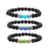 iHOMIKI Lava Rock Chakra Bracciali Diffusore 3Pcs Perle in Pietra Naturale di Yoga i Braccialetti con la Corda Elastica alla Moda del Polso Gioielli per Gli Uomini Donne