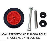 """Keto Plastics ® PU 14"""" Puncture Proof RED Wheelbarrow Wheel Tyre 3.50-8 foam filled + AXLE"""