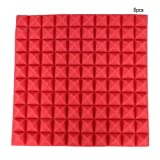 Fditt 6Pcs Schiuma di Cotone fonoassorbente fonoassorbente a Forma di Piramide 50 * 50 * 5cm (Red)