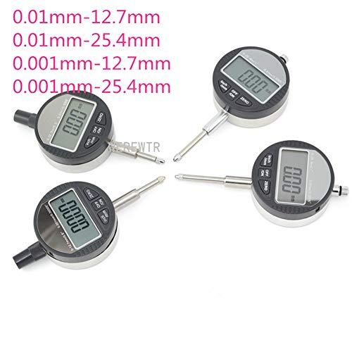 Werewtr Digital Dial Indicator Precision 0.01Mm 0.001Mm Range 0-12.7Mm 0-25.4Mm Professional Micrometer Gauge Caliper Tester Meter, 0.001Mm-25.4Mm - Digital Dial Caliper