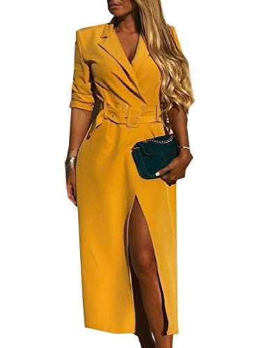 EnergyWomen Belted Mid-Long Double Button Solid Colored Slim Trench Coat Yellow S Sleeve Belted Coat