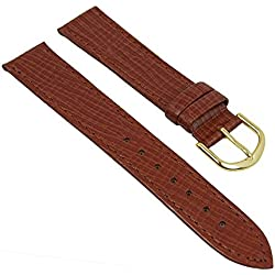 Minott watch strap Brown Recycled Leather Grain Flat with Seam 28192, Width: 18 mm; Buckle: Golden