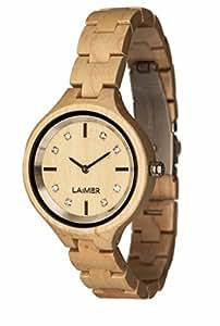 LAiMER Holzuhr Maria – Damen-Armbanduhr aus Ahornholz, mit Swarovski Kristallen veredelt - echte Natur mit Einem Hauch von Luxus