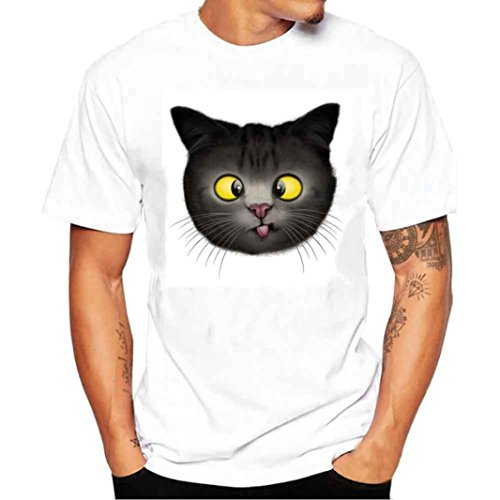 Ashop abbigliamento uomo, t shirt uomo manica corta, maglietta della maglietta del bicchierino del manicotto della maglietta della maglietta degli uomini di stampa 3d (xxxxl, bianco)