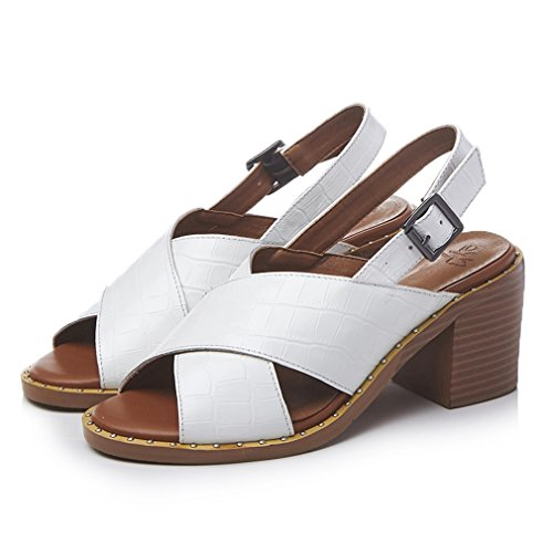 ENMAYER Womens Kuh-Leder überstreifen Schnall Offen Zehe Schuhe Für Blockabsatzs  Sommer Beiläufig ModeSandals weiß