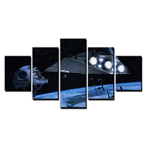 Leinwand Bilder Home Decor Zimmer 5 Stücke Star Wars Todesstern Gemälde HD Drucke Raum Stern Zerstörer Poster Wandkunst