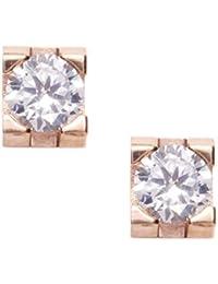 Happiness Boutique Damas Pendientes con Diamantes de Imitación en Oro Rosa | Dormilonas Cuadradas Pendientes Pequeños con Piedras de Circonio