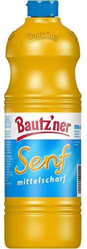BAUTZ\'NER Senf mittelscharf - 1000 ml Flasche Mittelscharfer Senf - Original Bautz\'ner Rezeptur seit 1955 - Ohne Zusatz von Konservierungsstoffen und Geschmacksverstärkern - Senf