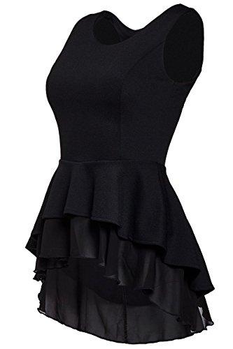 Peplum Kleid (Laeticia Dreams Damen Bluse Schößchen S M L XL, Farbe:Schwarz, Größe:36)