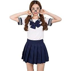Precioso uniforme de uniforme escolar de Japón Uniforme Set Sailor Suit Disfraces de Cosplay (Armada, XL)