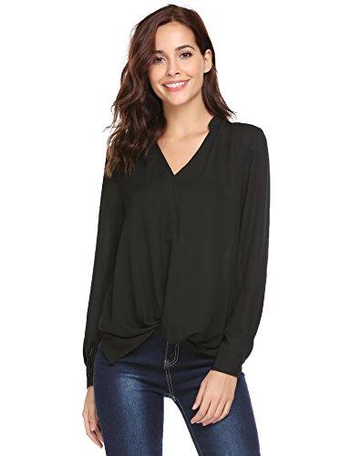 Loose Chiffon V-Ausschnitt Langarm Oberteile Elegante Hemd Mode Top Bluse (Haut Enge B&c)