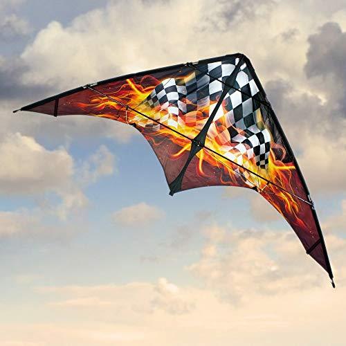 CIM Lenkdrachen - Power Hawk XL Hot Race - für leichten bis kräftigen Wind - Abmessung: 220x89cm - inkl. Steuerleinen mit Gurtschlaufen (Hot Race)