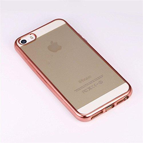 """Coque iPhone 5s, Bandmax Coque iPhone 5/SE Transparente Housse Étui de Protection Anti Choc Ultra Slim Bumper Case pour iPhone 5/5s/SE (4""""/Doré) or rose"""