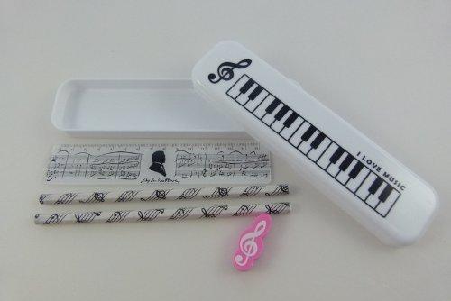 Musik Themed Schreibwaren - weiß Kunststoff Federmäppchen mit HB Bleistifte, rosa Radiergummi und...