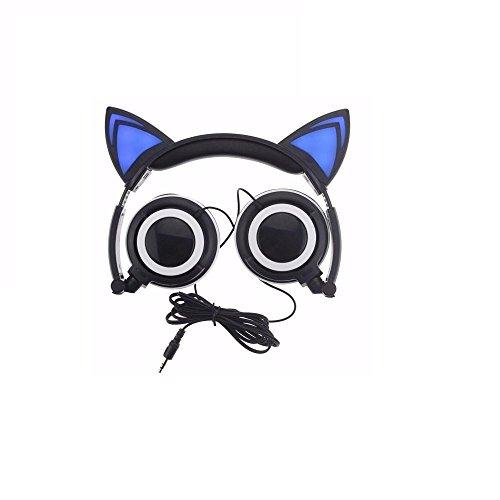 Jasonjimy Katze Ohren Kopfhörer Mit LED Glowing Lichter über Den Ohren Gaming Kopfhörer Headset Für Handy Pad Computer PC Laptop Computer (Schwarz)