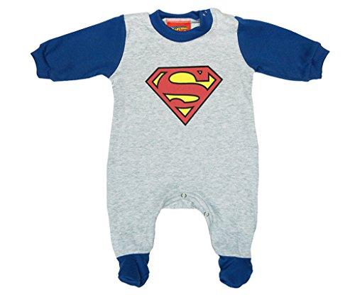 Jungen BABY-STRAMPLER mit Füßchen GEFÜTTERT von SUPERMAN in GRÖSSE 56, 62, 68, 74, 80 in blau, Baby-Schlafanzug LANG-ARM mit Druck-Knöpfen durchgehend, Spiel-Anzug Color Dunkel, Size 56