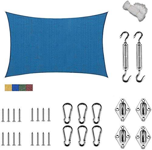 JYQcatd Toldo de Vela Sombra Rectángulo toldo para Patios Transpirable HDPE protección Rayos UV Exteriores, Jardín (con Kit de Hardware Gratuito),Blue,12'x12'