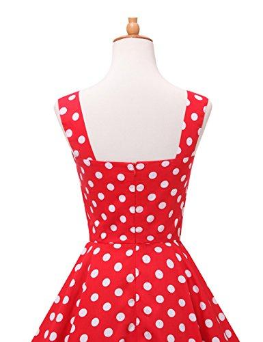 VKStar® 50er Rockabilly Kariert Kleid Petticoat Vintage ärmellos Kirschen Abendkleid Rot S - 4