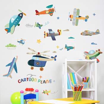 Kindergarten Kinderzimmer Wanddekorationen Kreative Cartoon Aufkleber Flugzeuge Wandaufkleber Aufkleber Selbstklebende Abnehmbare Cartoon Patch Flugzeuge -