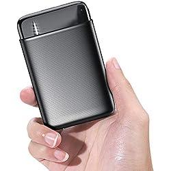 RIWNNI Mini Bateria Externa 10000mAh, Gran Capacidad Power Bank Pequeño y Ligero Batería Portátil con 2 Salida & 2 Entrada Carga Rápida Cargador Portatil Movil para iPhone, iPad, Samsung y Más - Negro