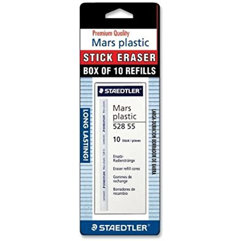 Stick Eraser Refill,Latex-free,Softy Vinyl,10/PK,White, Sold as 1 Box